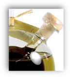 Oil and vinegar in blown glass bottle